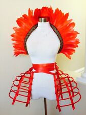Red hoop double pannier Crinoline cage bustle cage skirt two pieces