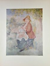 "1952 Vintage Full Color Art Plate ""MOTHER & CHILD"" by RENOIR Breastfeeding Litho"