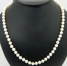 "Vintage 14K Yellow Gold 5mm Cultured Pearl Necklace-18"", Gold Filigree Clasp"