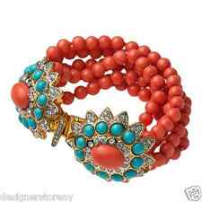 Kenneth Jay Lane multi coral rows beads turquoise/rhinestones cabochon bracelet