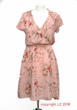 L153/14 Jario Women's Romantic Ethereal Silk Salmon Floral Summer Dress, size 8
