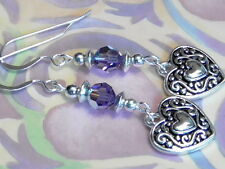 EARRINGS SS EARWIRES FILIGREE HEARTS TANZANITE AB SWAROVSKI VALENTINES DAY, LOVE