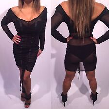 Connie's Elegant Stretch See Thru Mesh Black Mini Dress Black Cocktail Dress L
