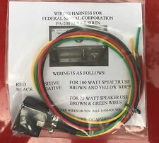 Wiring Harness for Federal Siren Model PA200