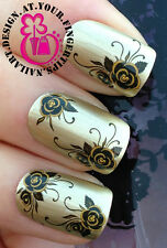 NAIL ART WRAP WATER STICKERS TRANSFERS DECALS BLACK & GOLD ROSE FLOWERS #389