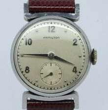 "VINTAGE 1950's Hamilton ""Clinton"" Mens Steel Watch Manual Wind ca.747 Original"
