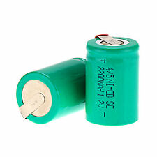 2Pcs NiCd 4/5 SubC Sub C 1.2V 2200mAh Rechargeable Battery with Tab Green Color