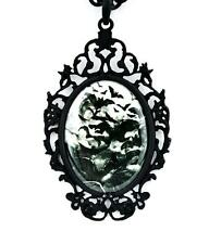 Swarm of Vampire Bats Cameo Pendant Necklace Full Moon Goth Punk Alternative Emo