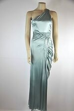 Versace Gown One Shoulder Draped And Pleated Teal   Size 38