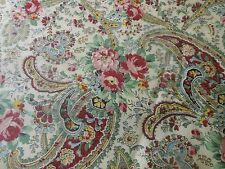 Antique Lovely Floral Roses Paisley Cotton Fabric ~ Pink Yellow Blue Cranberry