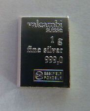 1g (1 gram) X 10 of Valcambi Suisse .999 Fine Silver Bullion Bar