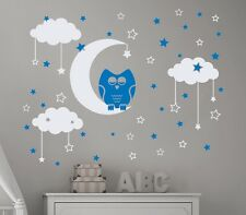 CLOUDS WALL DECALS OWL NIGHT BIRD DECAL MOON STARS VINYL NURSERY ROOM DECOR 521