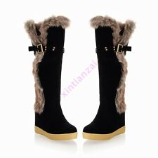 Womens Faux Suede Fur Trim Knee High Wedge Heels Boots Sweet Girls Winter Shoes