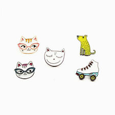 5x Roller Skate Yellow Puppy Cute Smile Cat Shirt Collar Enamel Brooch Pin Gift