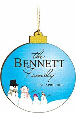 Personalized Laser Engraved Family Christmas Ornament, Blue with Snowmen
