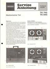 Grundig Service Manual for TK 745 and Tk 845