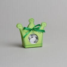 Lot de 10 boites à dragées ballotin couronne prince+ruban baptême mariage