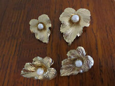 SARAH COV COVENTRY LEAF WITH PEARL ACCENTS  2 PINS BROOCH & EARRINGS DEMI PARURE