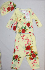 New! Mad Sky Baby Long Sleeve Kimono Set w/ Hat, Yellow Vintage 9M