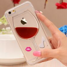 3D Red Wine Glass Liquid Bottle Hard Back Case Cover For Apple iPhone 6/6s