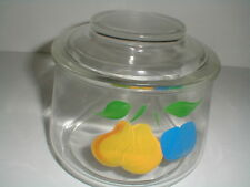Bartlett Collins Glass Gay Fad Fruit Design Low Canister/Storage/Cookie Jar/s