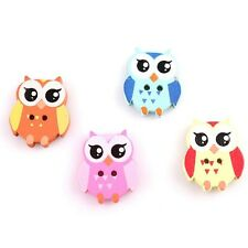 80x Retail Bulk Mixed Colors Nice Cartoon Owl Charms Sewing Wooden Button Lots C