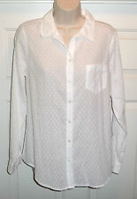 Old Navy Women's White Textured Polka Dot Long Sleeve Top Blouse Size Medium
