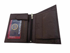 ALW High Quality Faux Leather Vertical Design Wallet - Brown