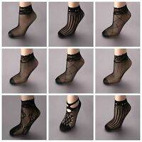 Sexy Sock Lace Ruffle Fishnet Mesh Short Ankle Casual Short Black Socks Low Out