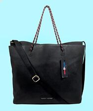 TOMMY  HILFIGER BAG in BAG Sport Training Black Leather Tote Shoulder Bag $118