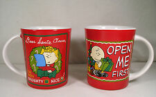 2 Collectible Charlie Brown Mugs, Christmas Dear Santa & Open Me First by Gibson