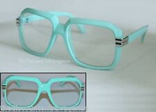 Gazelle Run Dmc Clear Lens Glasses _Turquoise Blue Sunglasses Frame_Metal Accent