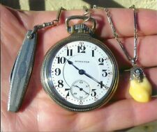 HAMILTON 21J WHITE GOLD RAILROAD POCKET WATCH AND ANITIQUE 14K GOLD CHAIN & FOB