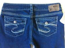 NEW Women's SILVER JEANS Mid Rise Aiko Flap Pocket Boot Stretch Jean 28 X 33⚜