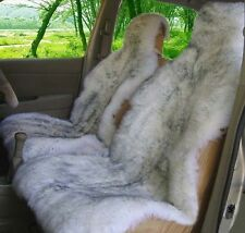 2 Pcs Genuine Sheepskin Long Wool Front Car Seat Cover White Grey ZH04