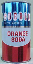 PUEBLO SUPER MARKETS ORANGE SODA ss 12oz Can, PUERTO RICO, USA, Pull Tab