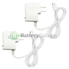 2 White Rapid  Micro USB Battery Home Wall Travel Charger For Android Cell Phone