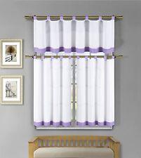Tatum 3 Pc Lavender Gingham Check Kitchen Window Curtain Set