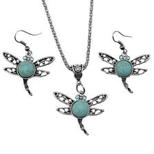 Tibetan Silver dragonfly Turquoise Women Pendant Necklace Earrings Jewelry Sets