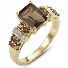 Percious Bridal Size 6 Emerald Cut Brown Tanzanite 10KT Gold Filled Women's Ring