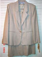 Evan Picone Beige All Season Suit 8/10 Business Career 2 Pc 100% Worsted Wool