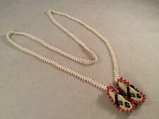 Native American Hand Made Beaded Necklace W/Beaded Leather Moccasins