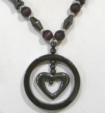 """HEMATITE PURPLE CATS EYE BEADED HEART PENDANT NECKLACE MAGNETIC CLASP 18""""LONG"""