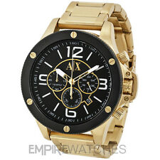 *NEW* MENS ARMANI EXCHANGE STREET BLACK GOLD WATCH - AX1511 - RRP £229.00