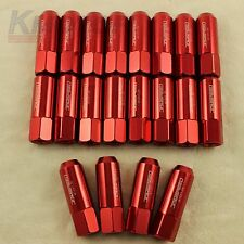RED 20PCS 12X1.25MM 60MM EXTENDED FORGED ALUMINUM TUNER RACING LUG NUT