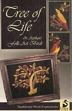 "Wool Applique Pattern by Crane Design  ""Tree Of Life & Folk Art Birds"""