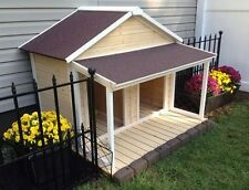 Duplex Dog House Shelter Outdoor Wood Kennel Houses Double Extra Flat Cage Porch