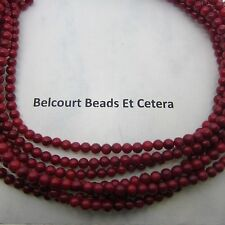 100 - Coral Beads Red Oil Dyed Beads - Round 3-4mm Gemstone Beautiful Red Color