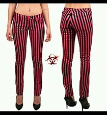 TRIPP EXPLOITED STRIPED SKINNY JEANS ROCKABILLY PUNK EMO GOTHIC PANTS SIZE 5