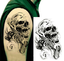Big Size Skull Gun Temporary Tattoos Arm Body Art Tattoo Sticker Fake Tatoo Cool